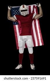 Football Player with a red uniform and a american flag, on a Black background.