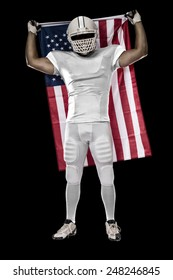Football Player with a white uniform and a american flag, on a black background.