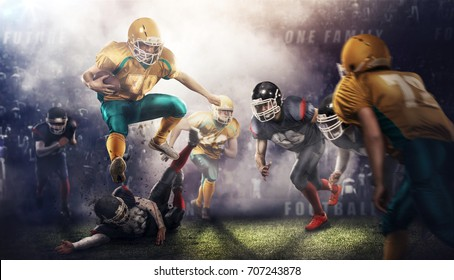 football players at 3d sport arena . Brutal action.3d rendering