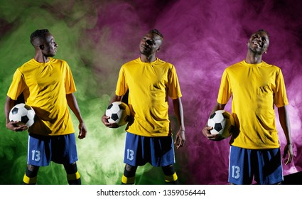 football players in different jerseys represent the game
