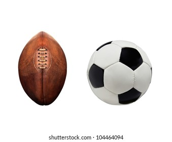 Football and rugby ball isolated