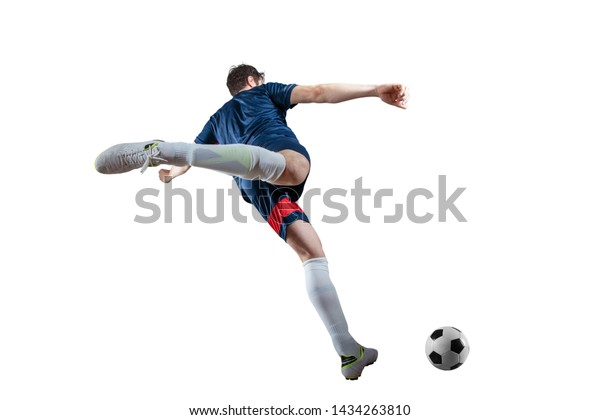 Football scene at night match with player kicking the ball with power. Isolated on white background