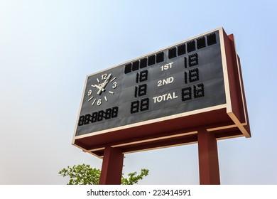 football scoreboard with blue sky in summer