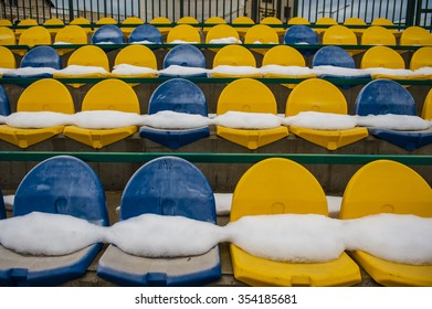 football seats covered by snow at Druze village of Majdal-Shams, Israel.
