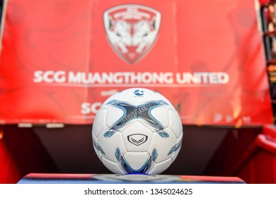 Football show on stand during The Football Thai League match between SCG Muangthong United and PT Prachuap F.C.at SCG Stadium on February24,2019 in Nonthaburi,Thailand