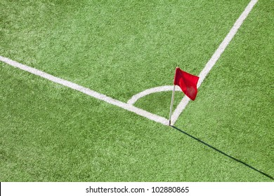 Football or soccer field. Corner flag