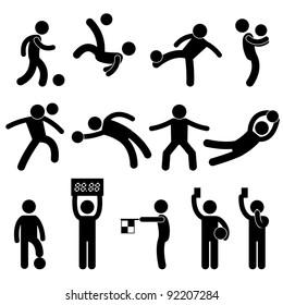 Football Soccer Goalkeeper Referee Linesman Icon Symbol Sign Pictogram