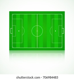 Football, soccer green, realistic, textured field. View of top with reflection and marking, 3D illustration. Template for a website, mobile application, presentation, corporate identity design