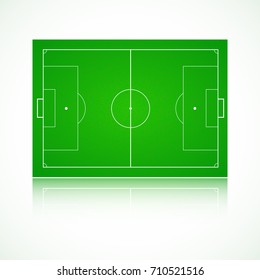 Football, soccer green, realistic, textured field. Front view with reflection and marking, easily resizable. Template for a website, mobile application, presentation, 3D illustration