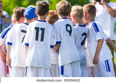Football; soccer; handball match for children. team work