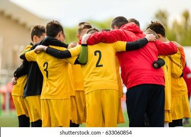 Football; soccer; handball; volleyball; match for children. shout team, football soccer game. Team work and unity. Coaching speech