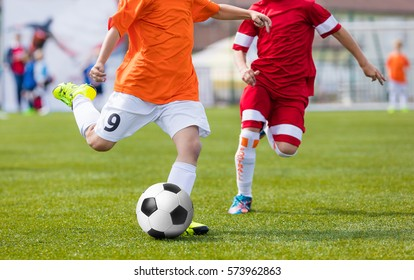 Football Soccer Match for Children. Kids Playing Soccer Game Tournament. Boys Running and Kicking Football. Youth Soccer Footballers Competition