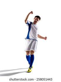 football soccer player in action  isolated on white background