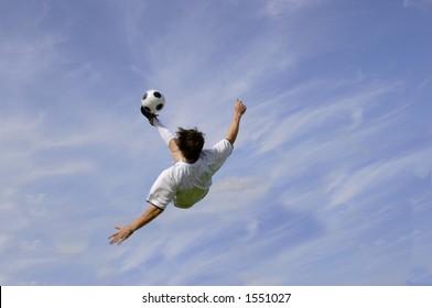 Football - Soccer Player performing Bicycle Kick