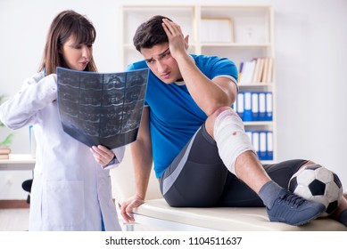 Football soccer player visiting doctor after injury