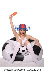 Football and soccer supporter showing red card on white background