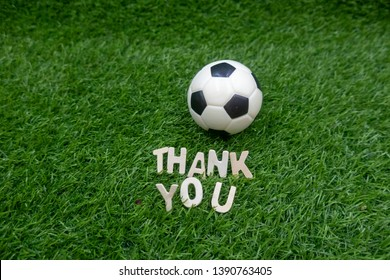 Football Soccer with thank you word on green grass