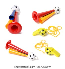 Football soccer triple fan trumpet and whistle on white background