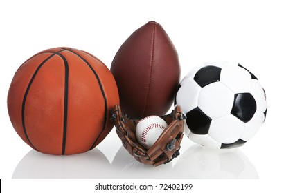 Football, Soccerball, Baseball and Basketball, Isolated, White