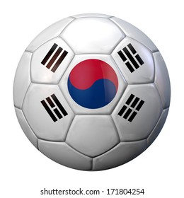 Football with South Korea flag texture. Clipping path included for easy selection.