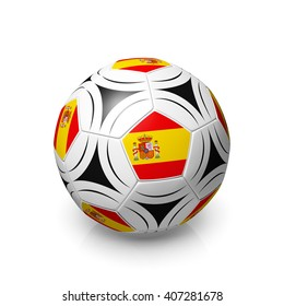 A football with a Spanish flag, 3d render on a white background.