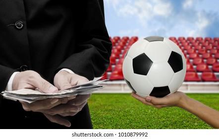 Football sport business concept, Businessman invest for winner