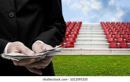 Football sport business concept, Businessman invest in football arena