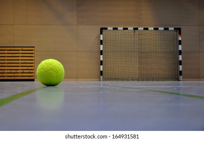 a football in the sports hall