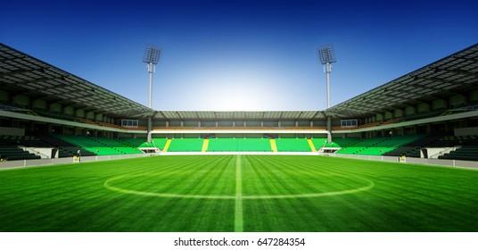 Football stadium with blue sky concept