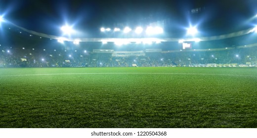 Football stadium, shiny lights, view from field