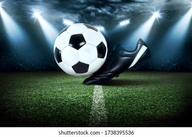 Football stadium, shiny lights, view from field. Soccer concept - Shutterstock ID 1738395536
