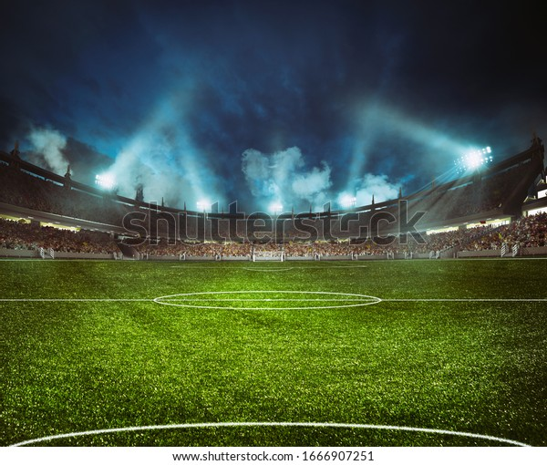 Football stadium with the stands full of fans waiting for the night game
