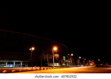 football station by night