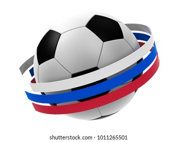 Football with stripes in the form of russian flag isolated on white background, represents World championship cup in Russia, three-dimensional rendering, 3D illustration