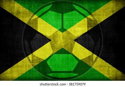 football symbol on Jamaica flag pattern,retro vintage style