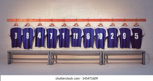 Football Team Shirts on locker room wall with bench