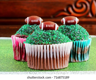 Football topped themed cupcakes