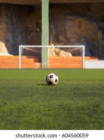 Football vintage old ball waitting players alone