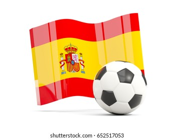 Football with waving flag of spain isolated on white. 3D illustration