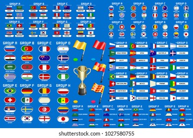 Football World championship groups. Set of four different flag illustration.  Flag collection. 2018 soccer world tournament in Russia. World football cup. Nations flags info graphic.
