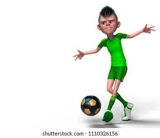 footballer cartoon in a white background 3d illustration