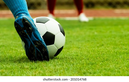 footballer Penalty shooting on grass in game