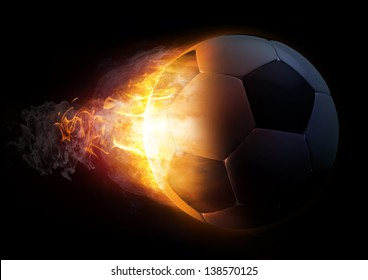 Footballl in Fire on black background