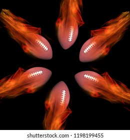 Footballs on fire flying fast.