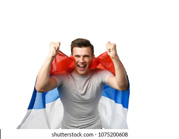 football's russian fan with flag is screaming and laughing. Russia winner champions