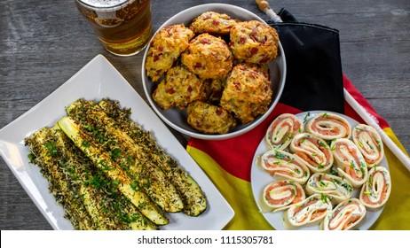 Footballsnacks - salmon rolls, pizzaballs, baked zucchini
