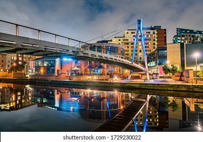 Footbridge across the Aire River in West Yorkshire, England