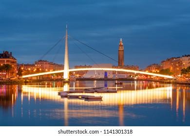 Footbridge across Commerce Basin in the heart of Le Havre city, France