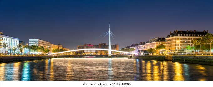 Footbridge across Commerce Basin in Le Havre - Normandy, France