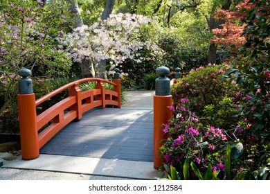 Footbridge in an Asian style garden with trees and bushes in spring bloom.